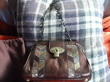 WONDERFUL RARE BRONZE LEATHER CLUTCH CHAIN BAG FROM MULBERRY WITH PRICE TAG £486