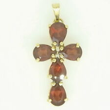 Ladies 14k Yellow Gold Pear Cut Garnet Gemstone Cross Estate Pendant