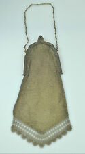 ANTIQUE WHITING & DAVIS SILVER SOLDERED CHAIN MESH BAG PURSE W/ SCALLOPED FRINGE