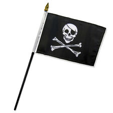 """Wholesale Lot of 6 Jolly Roger Pirate Patch 4""""x6"""" Desk Table Stick Flag"""