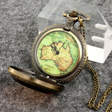 Retro Vintage Bronze Map Old Dial Pocket Watch Pendant Necklace Chain