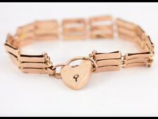 Gate Bracelet 9ct Rose Gold Heart Locket Clasp Ladies Edwardian N40
