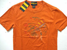 New Ralph Lauren Rugby Orange Indian Chief Head 100% Cotton T Shirt XS