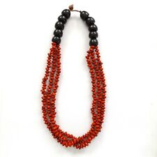 THREE LOOP FIRE RED BLACK SCARLET SEED BEAD NECKLACE, TRIPLE STRINGS WITH CLASP.