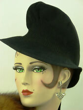 VINTAGE HAT 1940s ENGLISH, THE 'BRIEF ENCOUNTER HAT', IN SOFT FINE BLACK FELT