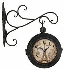 New Double Sided Wall Clock Vintage Clock Wall Mounted Home Décor-Eiffel Tower