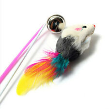 Kitten Cat Toy Mouse On A Rod Teaser Bell Feather Play Pet Dangler Wand Hot 1 Pc