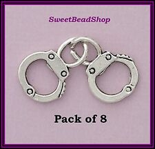8 Antique Silver Colour Double Sided 32mm Detailed Pair Joined Handcuff Charms