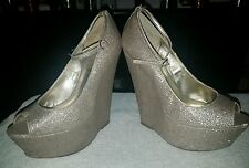 Carvela Kurt Geiger ladies size 6 gold glitter tall platform wedges heels