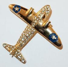 VINTAGE FIGURAL SIGNED POLCINI WWII FIGHTER PLANE AIRPLANE RHINESTONE PIN BROOCH