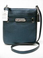 $195 NWT COACH PEBBLE LEATHER METALIC BLUE SWAGGER SWINGPACK CROSSBODY 36502