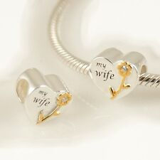 "HEART-Love-""MY WIFE""-Flower-Solid 925 sterling silver charm bead-Gold plated-CZ"