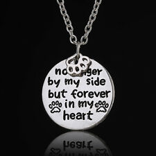 Pet Lover Dog Cat Paw Print Tag Rescue Forever In My Heart Pendant Necklace Gift