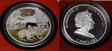 2011 Cook Is Large Silver Color Proof $2 White Rabbits