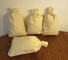 "4 CANVAS COIN BANK DEPOSIT BAGS WITH SEWN-ON TIES 12"" BY 19"" MONEY SACKS BAG"