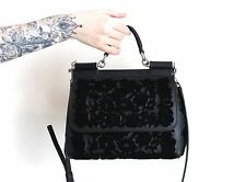 DOLCE & GABBANA BLACK LEATHER VELVET MISS SICILY SATCHEL CROSSBODY BAG PURSE