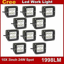 10X 3in 24W CREE LED Work Light Spot Beam cube 10-30V DC Off-road Boat ATV Lamp