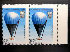 TUVALU Manned Flight 30c Major Vertical Misperforation Used Marginal Pair FP3826