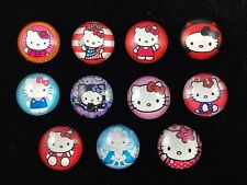 HELLO KITTY 20mm GLASS DOME FLATBACK CABOCHON EMBELLISHMENTS SCRAPBOOKS 11pcs