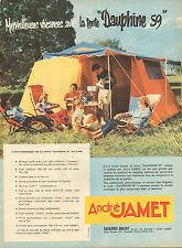 """Publicité 1959  André JAMET la tente """"Dauphine 59""""  vacances camping"""