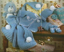 Crochet Pattern ~ BABY SWEATER, CAP, BOOTIES & AFGHAN Hat ~ Instructions