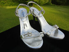 Club Zone Silver Metallic High Heel Sexy Slingbacks Shoes Sandals  Women's  10