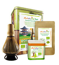 BIO GESCHENK SET (Premium) - 100g Matchatto  + Matcha-Besenhalter + Bambusbesen