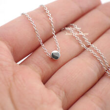 925 Solid Sterling Silver Tiny 4mm Round Dot Charm Pendant Necklace Women A2827