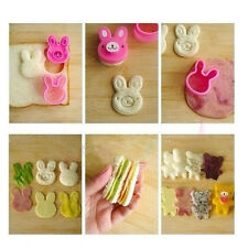 New Sandwich Crust Cutter Cookie Bread Mold Bento Maker Rabbit Panda Flower 3pc
