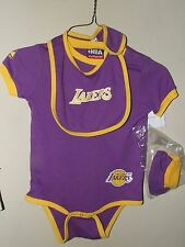 NWOT Majestic 24M L.A. Lakers Onesie Bib Booties Set Purple Yellow Shirt Baby