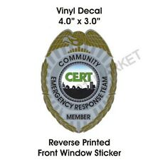 § CERT Badge Window Sticker Community Emergency Response Team Lg Car Truck Decal
