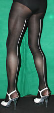 Awesome Black 80 Denier White Contrast Seam Soft Feel Opaque One Size Tights