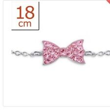 Sterling Silver 925 Bow Chain Bracelet With Rose Crystals