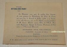 INVITATION pour la DISTRIBUTION des PRIX 1933 : Cours HATTEMER BIAIS PRIGNET