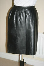 VAKKO Black ButterSoft Real LEATHER PENCIL SKIRT uk12 us8 eu38 Waist w28in w71cm