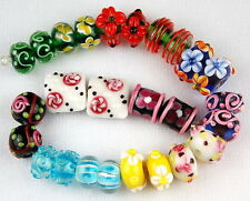 26 pcs MIX FLOWER HANDMADE LAMPWORK GLASS BEADS JEWELRY CRAFT RONDELLE (m2)