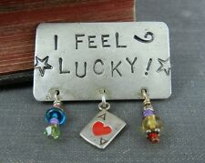 """Signed Campbell 2001 """"I FEEL LUCKY"""" Sterling Silver Pin / Brooch"""