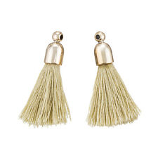 Cotton Tassel Charms & Gold Plated Cap Beige (20mm) Pack of 2 (K71/2)