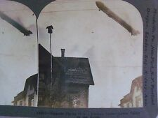 WW1 ZEPPELIN FLYING OVER A GERMAN TOWN! WWI KEYSTONE STEREOVIEW B&W CARD 45