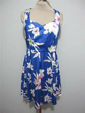 "Womens Evening Cocktail ""NWT"" DRESS Sz 16 Blue Pink White Floral Satin Skater"