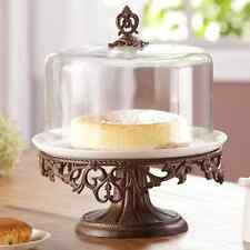 Old World Classic Scroll Cake Stand Pedestal Ceramic Plate Bronze Patina Metal