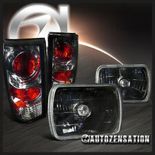 Chevy 82-93 S10 Blazer GMC 91-93 Sonoma Black 7X6 Headlights+Smoke Tail Lamps
