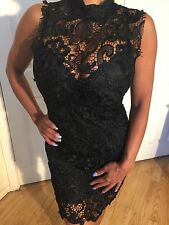 Crochet Mock Neck See thru Top Lined skirt Black Lace Mini Dress in size S/M