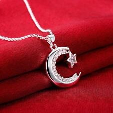 "18"" 925 Silver Plated Chic Moon Star Zircon Ladies Cocktail Christmas Necklace"