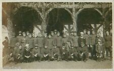 WWI photo postcard of US and European Army Navy Soldiers with civilians