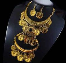 Set 2 Tlg Kette Ohrringe Schmuckset Halskette Vergoldet Kranz Paris Hippie Geld