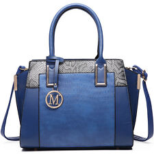Women PU Leather Handbag Designer Crocodile Snake Print  Shoulder Tote Bag Navy