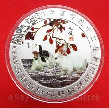 45mm Chinese Lunar Zodiac Colored Silver Coin Token - Year of the Rabbit