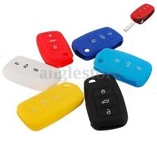3 Buttons Remote Entry Key FOB Case Shell Silicone Protective Cover Hold For VW