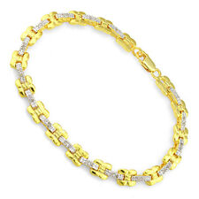 Lovely 0.19ctw Genuine Diamond  Bracelet in Gold Plated Sterling Silver